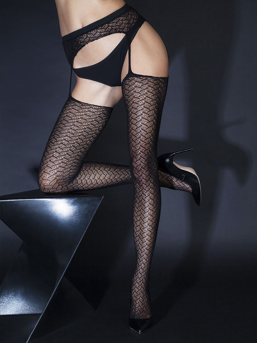 Stockings with a belt and with zigzag pattern (Sense)