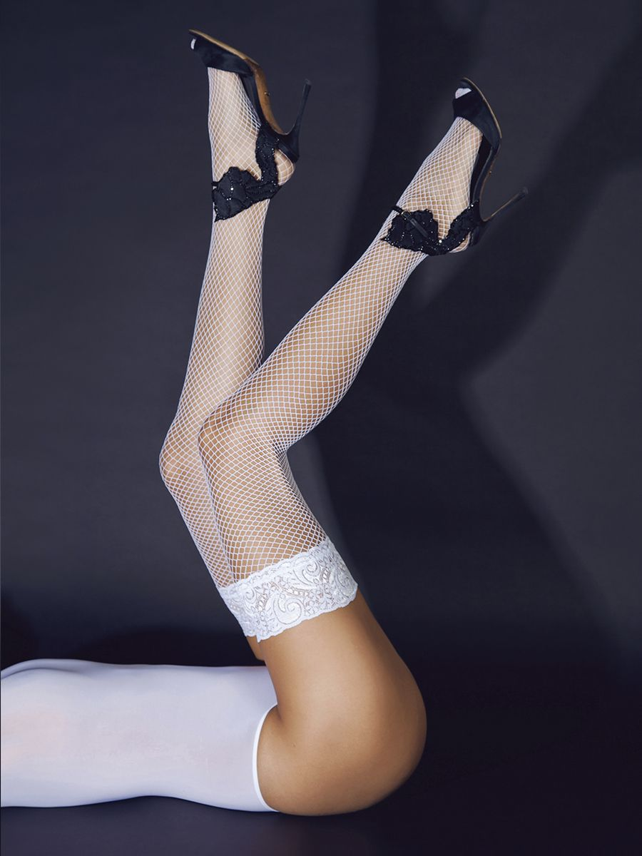 Stockings white with small lace on silicone rubber (Sense)