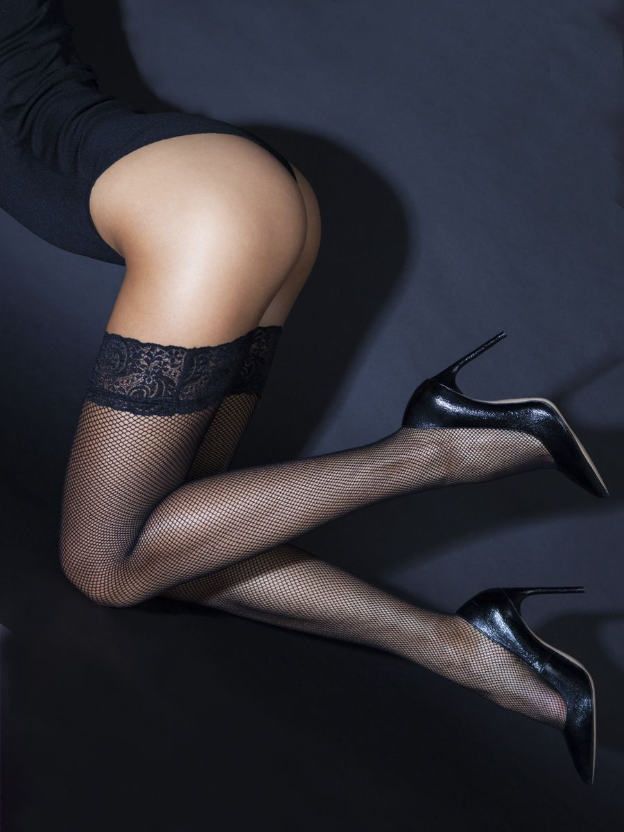 Fishnet stockings with black lace elastic band (Sense)