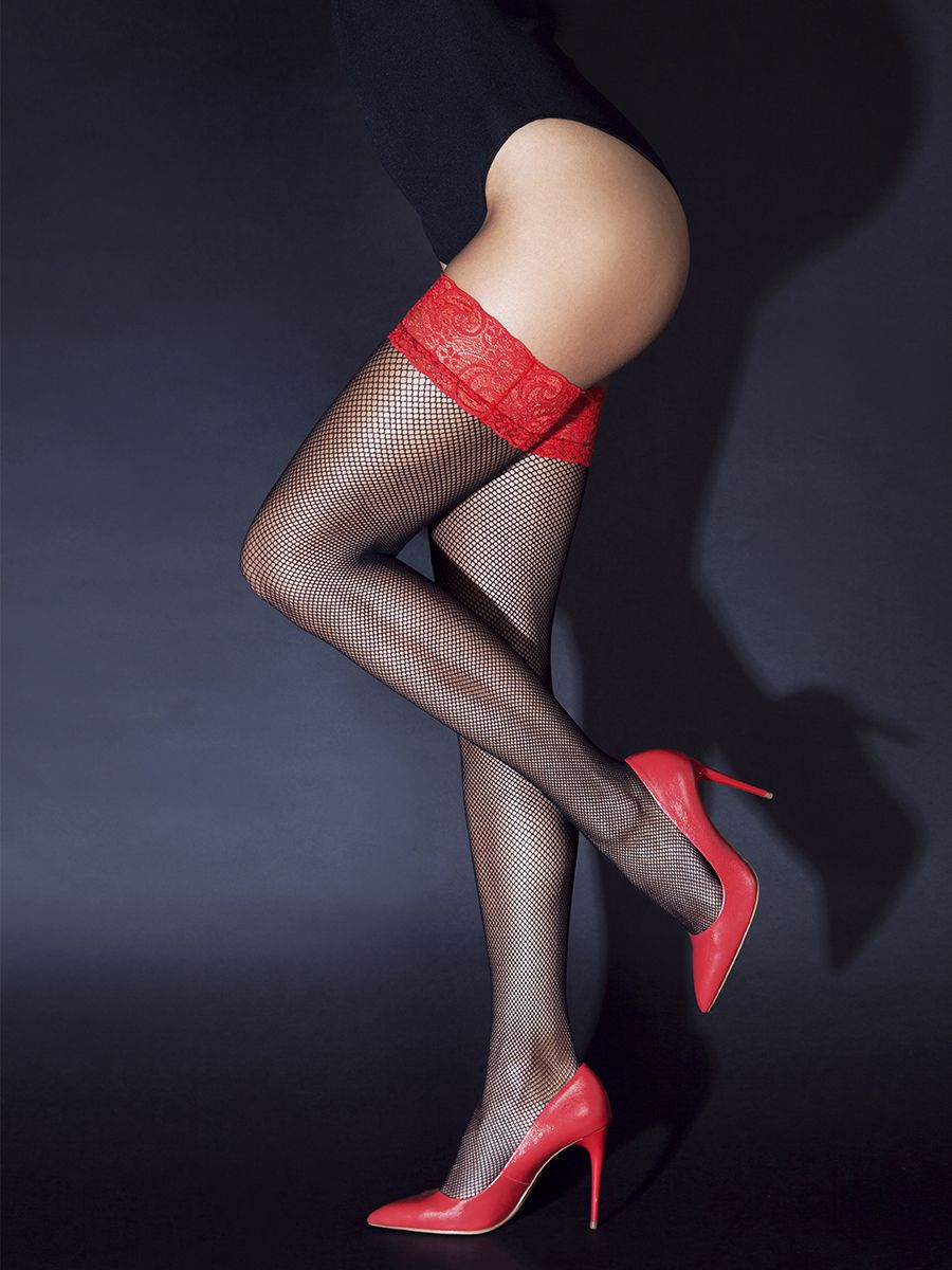 Stockings with red lace elastic band with silicone (Sense)