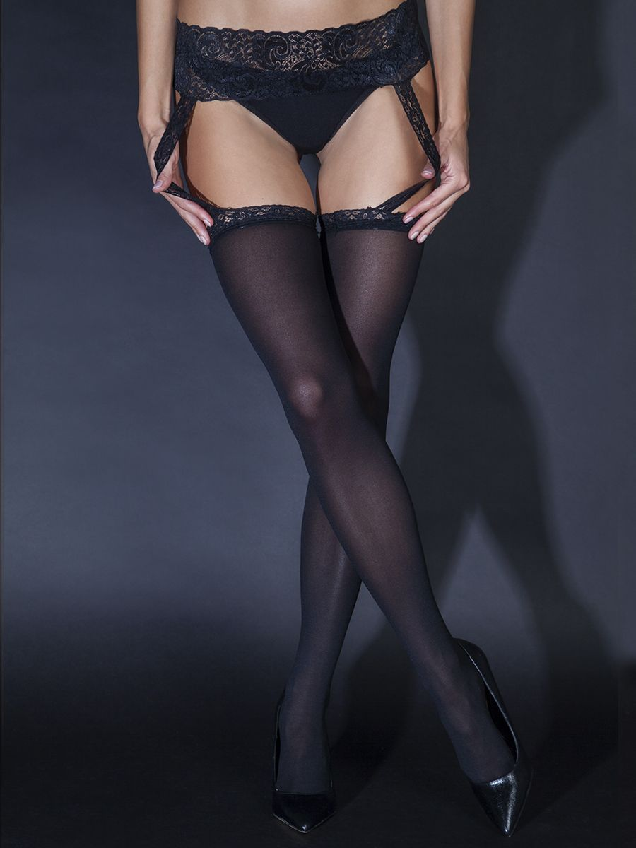 40D stockings with black lace belt (Sense)