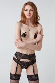 Seductive black lace garter belt  (Hold on love)