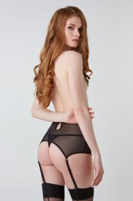 Captivating black mesh high waist garter belt (Hold on love)